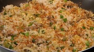 mexido, arroz, alho frito
