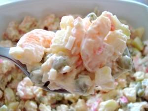 salada , camarão